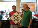Andrew Fei 2012 City Champion with Coach Murrel Rhodes presenting him the Traveling Trophy.